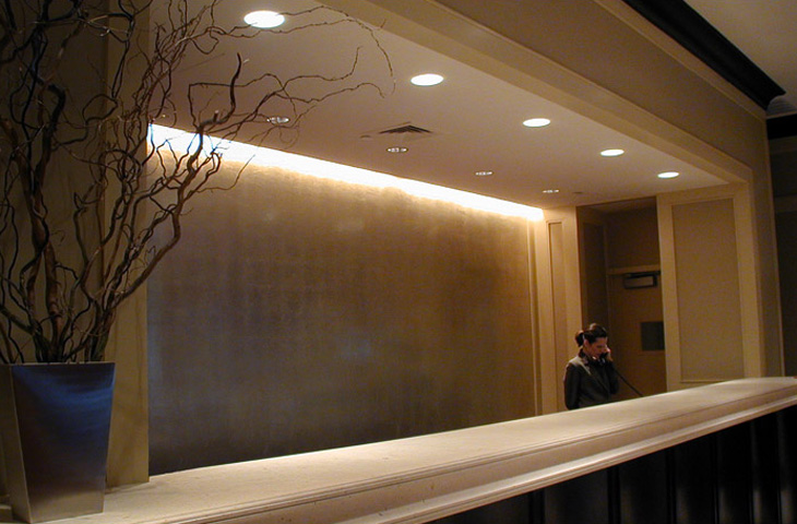 Gilded Wall: Aluminum leaf. Marriott Hotel downtown NYC. Designer: Alexandra Champalimaud.