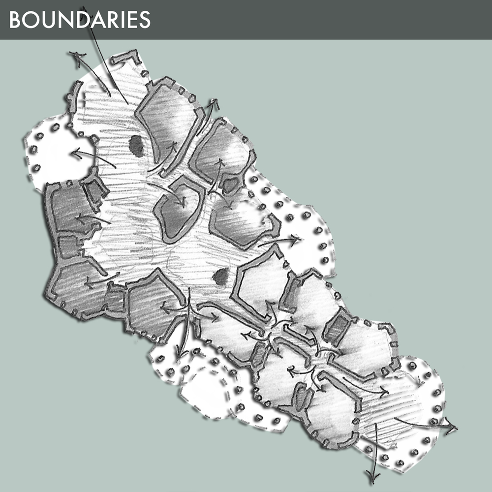 Boundaries are the visible limits of the symmetries discussed in strong centers. Boundaries also are the way in which strong centers interact with each other. Therefore, they play a dynamic role in both protecting and isolating the precious center of which it bounds, as well as uniting the center with others, thus making it stronger and ever more connected. This naturalphenomenonis beautifully expressed in the wall of a cell. The thickness of the wall protects the nucleus and the functionality of the inner workings within. On the other hand however, it is able to control all organicexchanges, both incoming and outgoing, needed to chemically sustain the cell life.