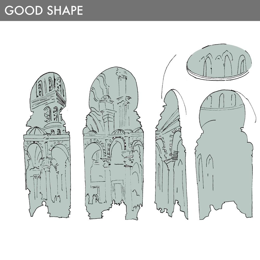 A Good Shape is a defined form containing at least one major center that is reinforced by other auxiliary centers. These forms havedefined boundaries (shape and edges) and create positive space around it. Therefore, the strength and form of any Good Shape, its boundaries, and the space adjacent to it, are a complete composition of strong centers.