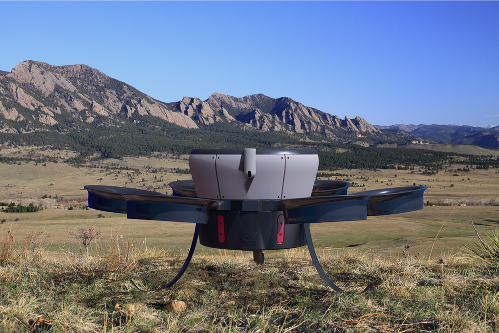 Reference Technologies Hummingbird, a 120-pound, vertical-lifting Unmanned Aircraft System that has been approved by the FAA for testing in the San Luis Valley. Photo courtesy Reference Technologies Inc. of Lafayette, Colorado.