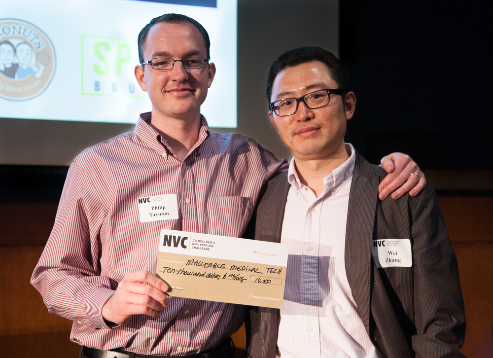 ABOVE: Philip Taynton (left) and Wei Zhang (right) are honored as co-winners of CU-Boulder's 2014 New Venture Challenge in 2014. Below: the process of recycling carbon-fiber composites.