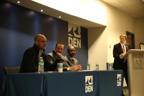 International Trade Panel at DEN with Tyler Rauert, Chad Vorthmann, Abdul Sesay, & Jeff Wasden (from left to right)