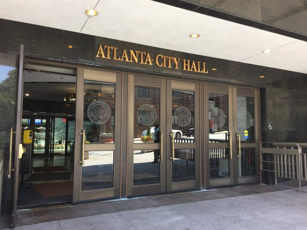 The entrance to Atlanta's City Hall