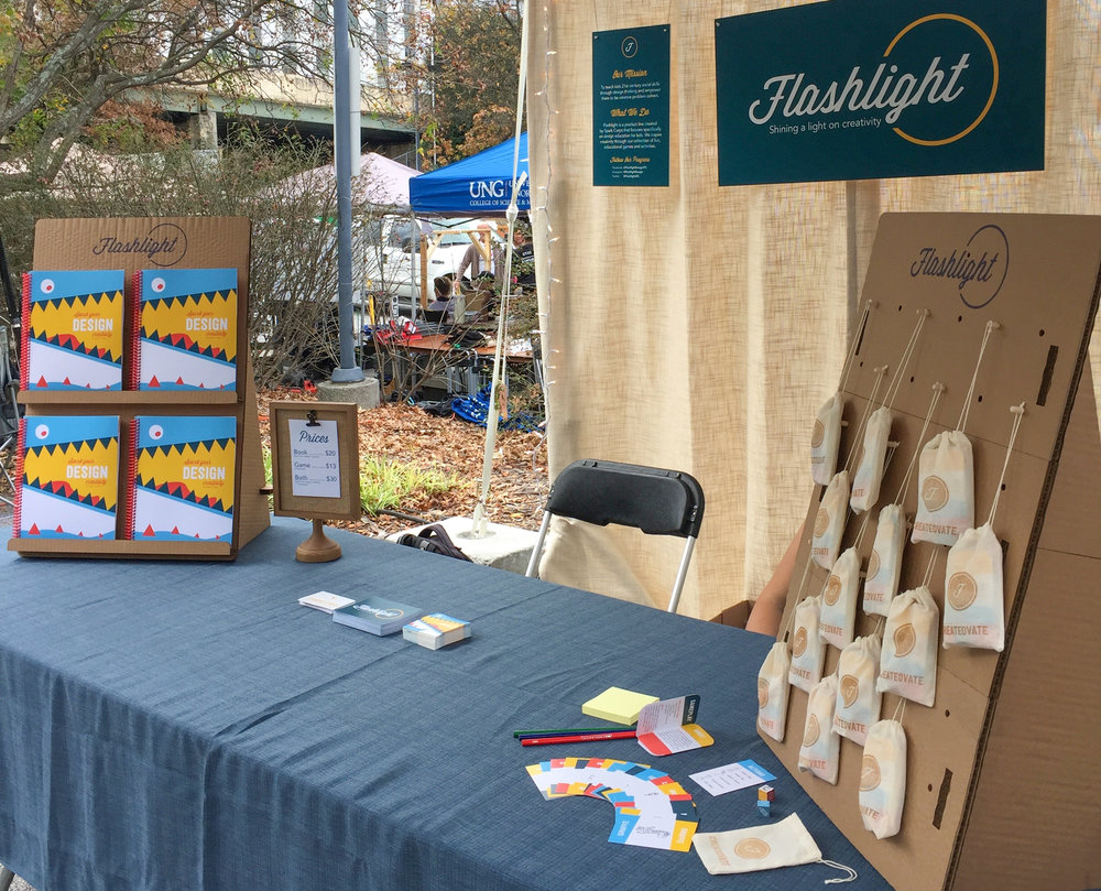 The completed Flashlight display is all ready to go as the Faire begins