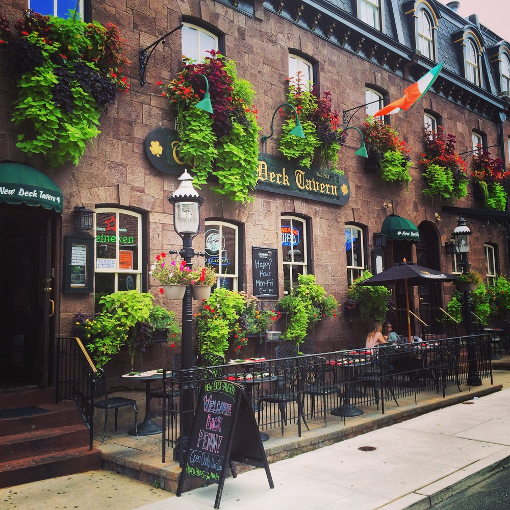 Window boxes enliven the patio dining at New Deck Tavern in University City, Philadelphia