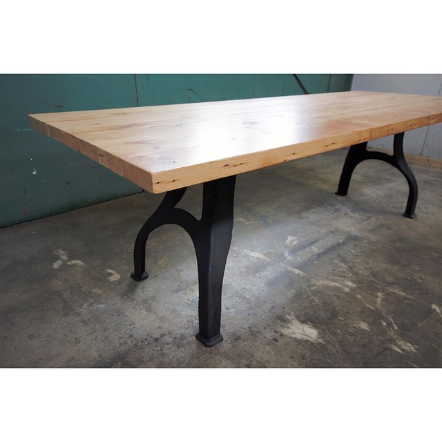 Reclaimed Wood and Cast Iron Dining Table