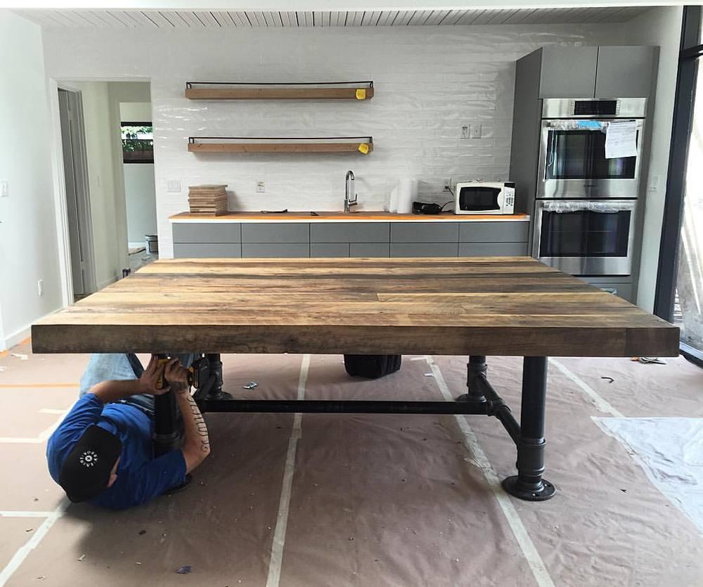 Big Reclaimed Oak Table - Modern Industrial