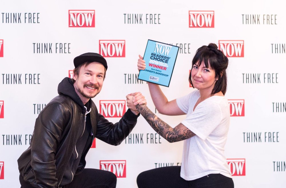 Kevin and Ashley receiving their award at NOW Magazine headquarters