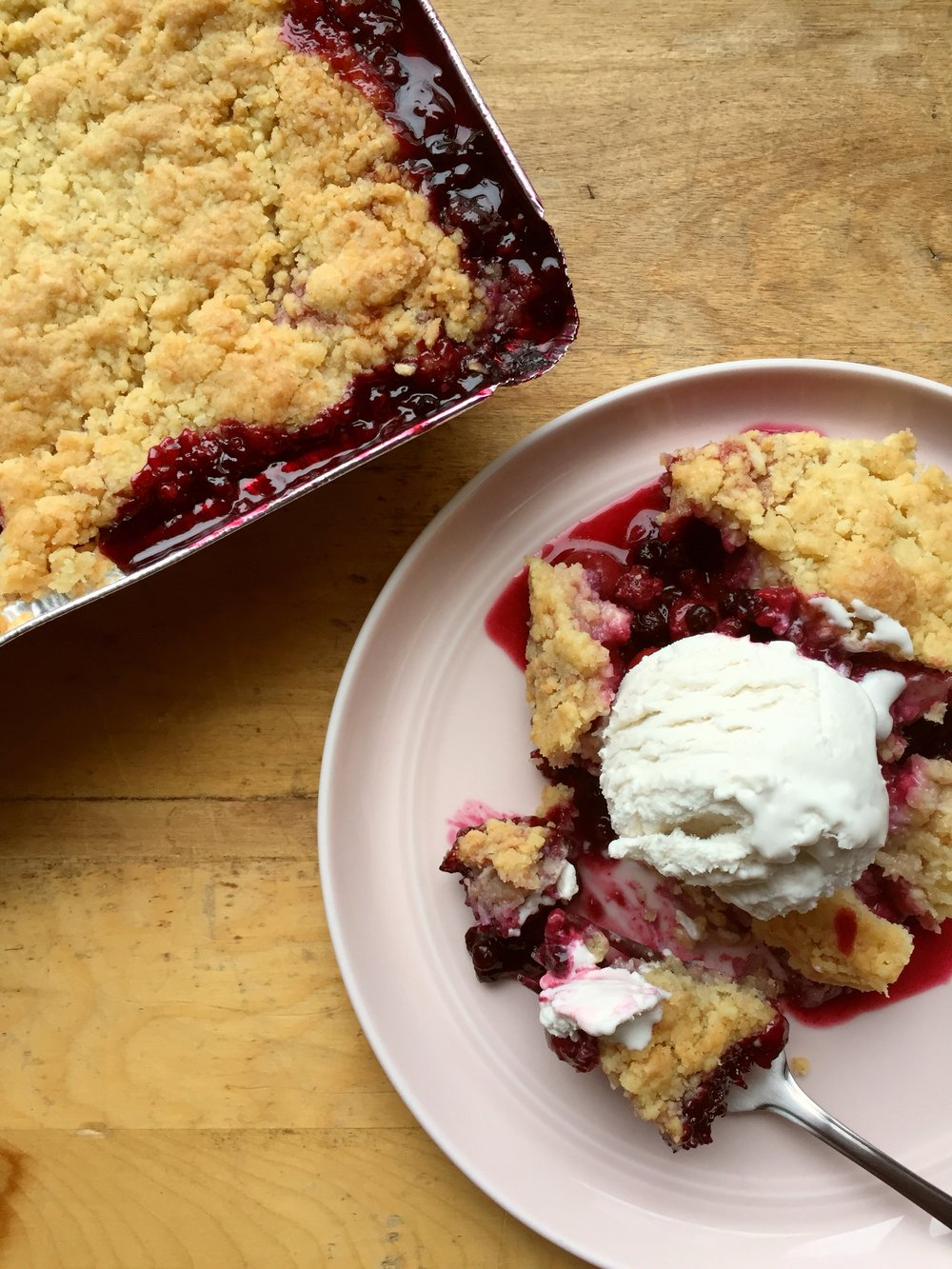 Berry Cobblers : $18(soy free)  We take sour cherries, wild blueberries, tart raspberries and some juicy strawberries, cook them down into a berry pie filling and top with an incredibe buttery coconut crumble. Perfect for serving with vanilla icecream after dinner, or for a decadent weekend breakfast. Serves 2 to 4 depending on the appetite.