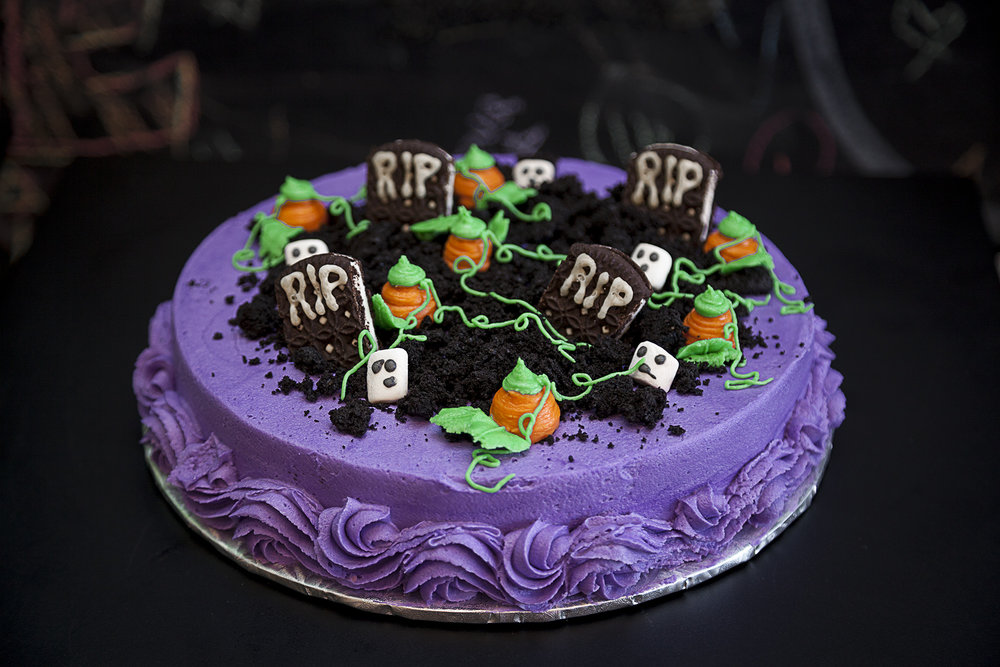 NIGHT SHIFT - $30 - Black chocolate cake with scary-fun cemetary scene!