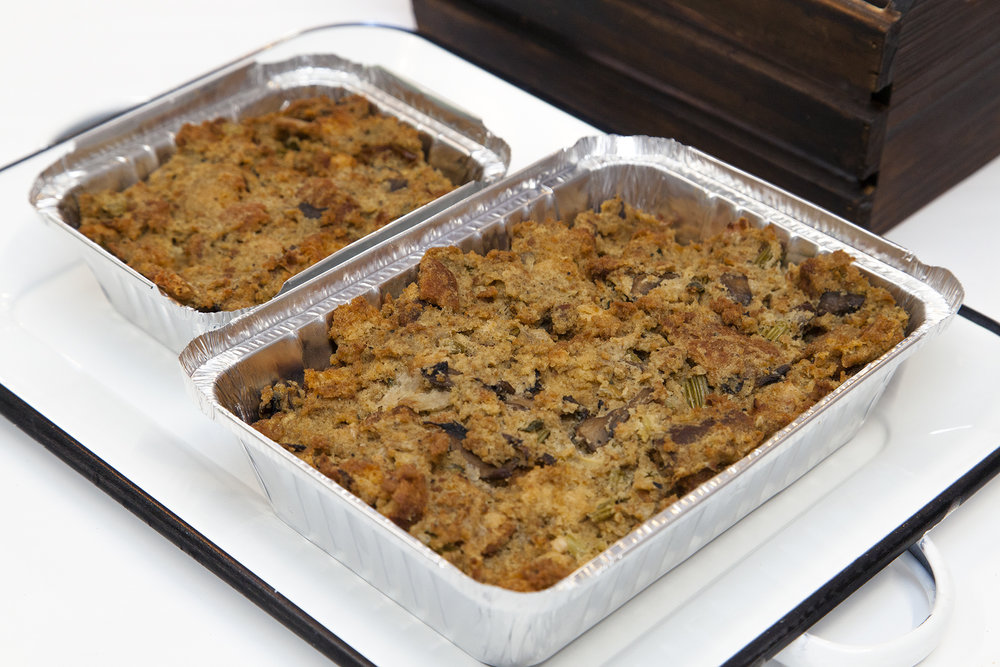 Oven Baked Stuffing  - Bunner's from-scratch, oven baked stuffing is so delish you may need to buy an extra one for all the bites you'll sneak before the big meal is served. Made using our very own GF bread, homemade veggie stock, carrots, celery, onions and mushrooms - it's the perfect compliment to your Christmas spread.