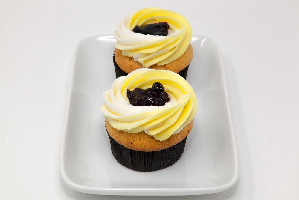 Double Stuffed Lemon & Blueberry Pie Cupcakes