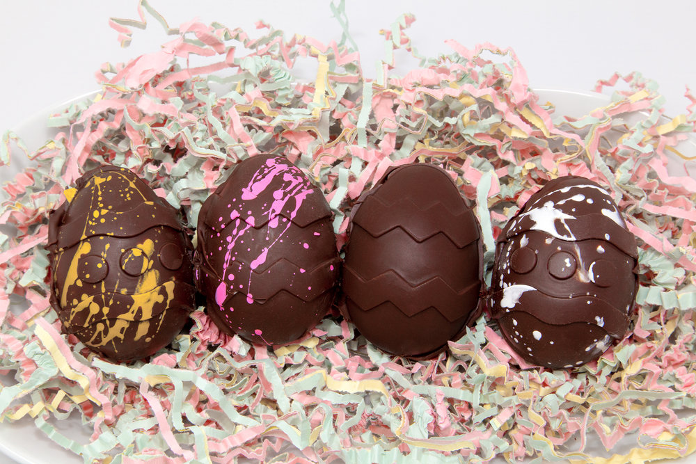 Easter Cream Eggs with Three Exciting New Flavours!  From left to right: Caramel Swirl, Strawberries & Cream, Classic Easter Cream Egg, and Coconut Bounty!