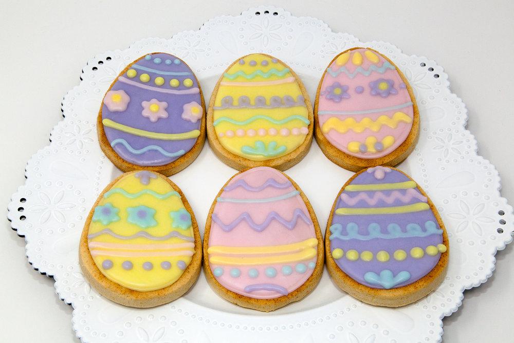 Flooded Sugar Cookie Easter Eggs  - Various Designs