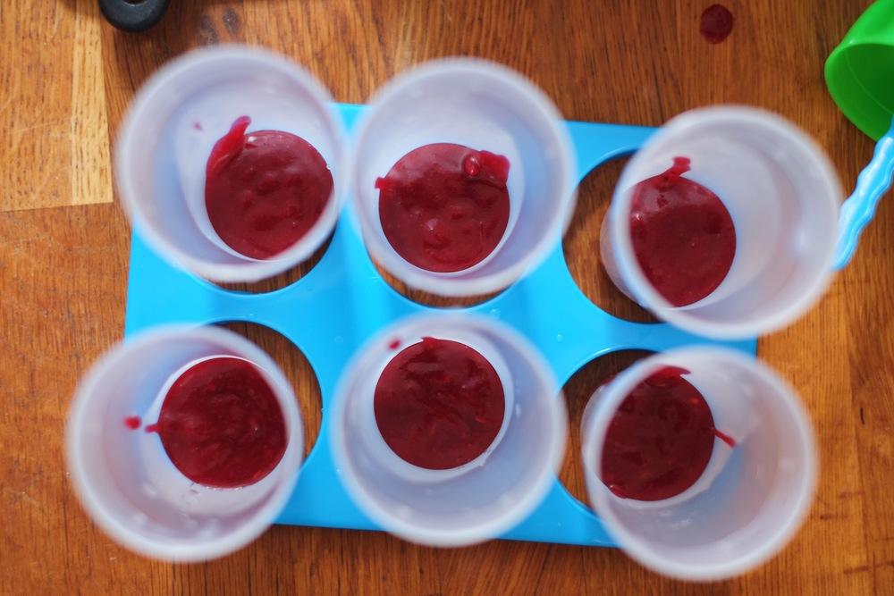nectraine, berry and coconut cream ice lollies