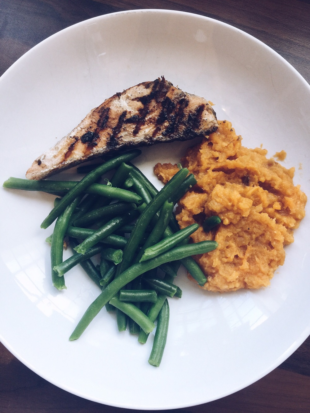 Jerk salmon and sweet potato mash