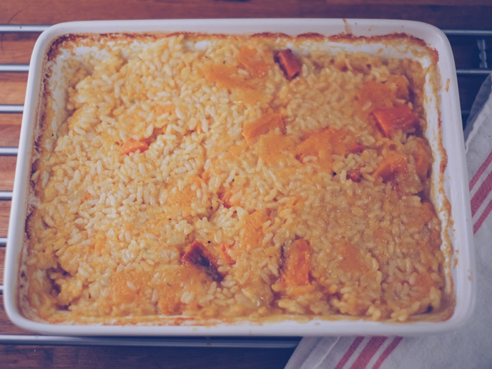 oven-baked butternut squash risotto