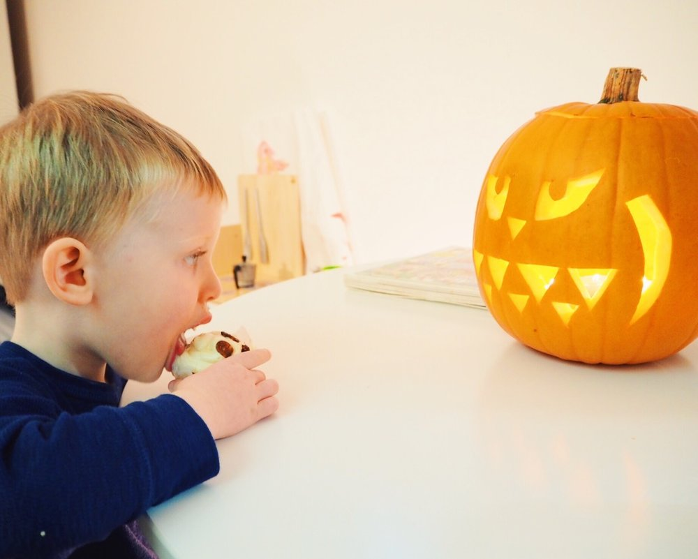 Halloween Pumpkin muffins with cream cheese frosting