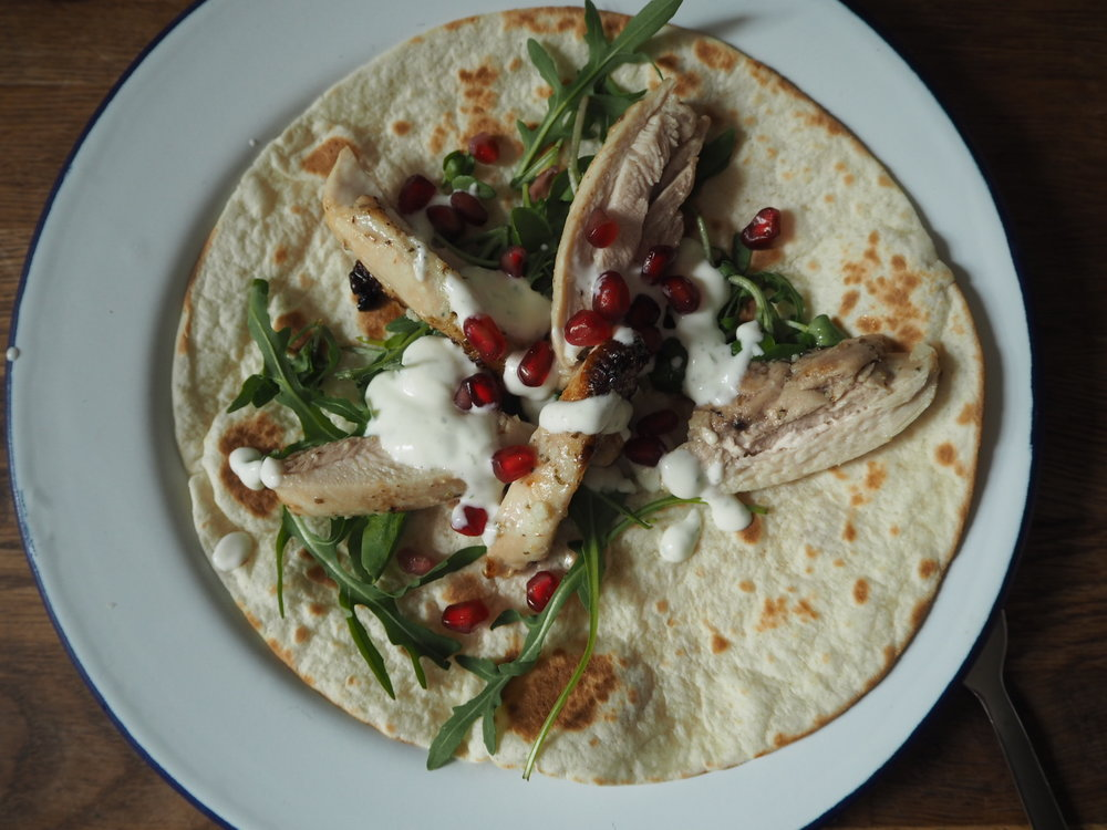 Garlicky chicken wraps for Sainsbury's/millycundall.com