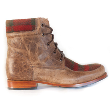 Allen Boot This well-constructed boot features finely woven English tweed and top grain Crazy Beige leather.