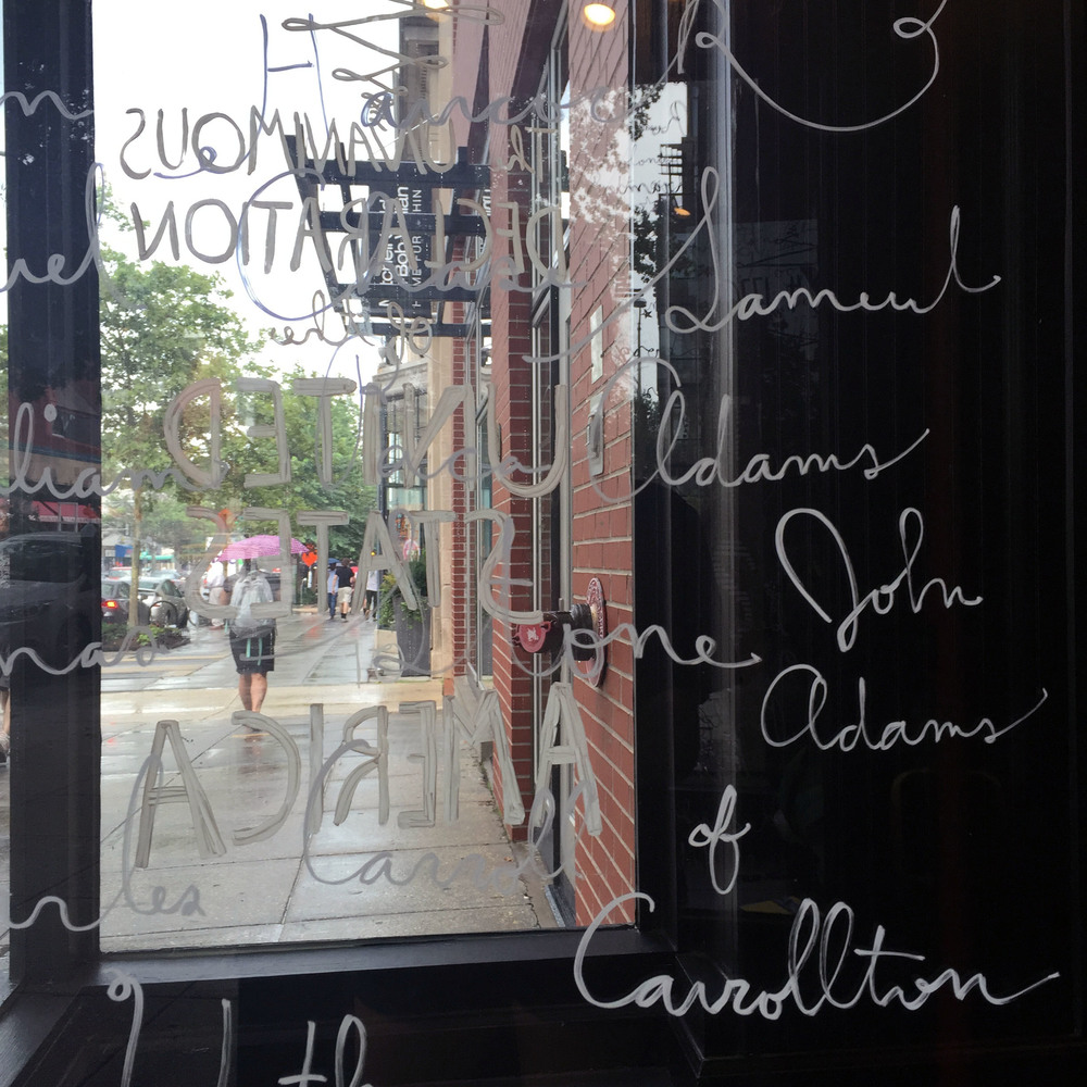 Window painting at the  Shinola  DC store.  Lettering is inspired by the Declaration of Independence to celebrate the 4th of July.