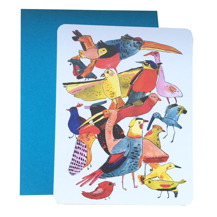 bird group note card