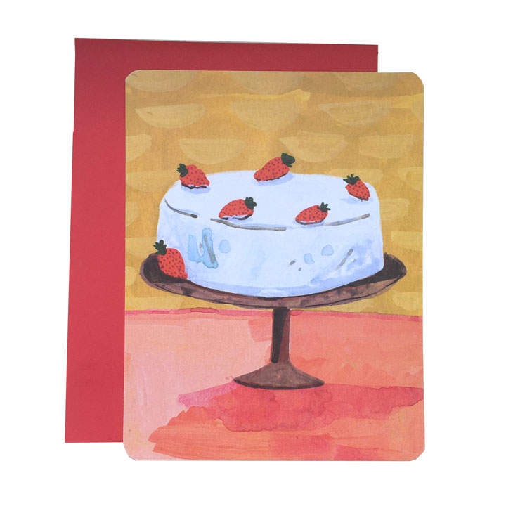 strawberry cake note card