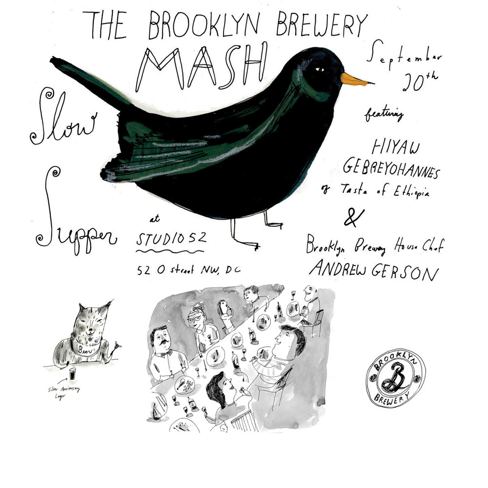 Illustrated menu's for the 2013-2014 Brooklyn Brewery DC MASH events.