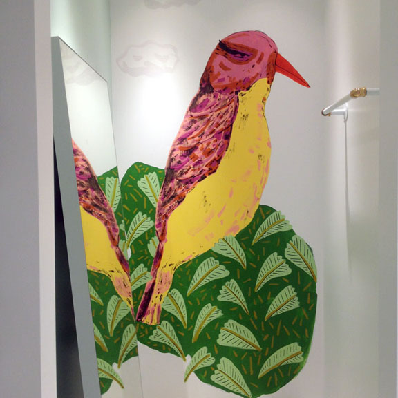 Birds painted on the dressing room walls of the  Alice and Olivia  store in Georgetown DC.