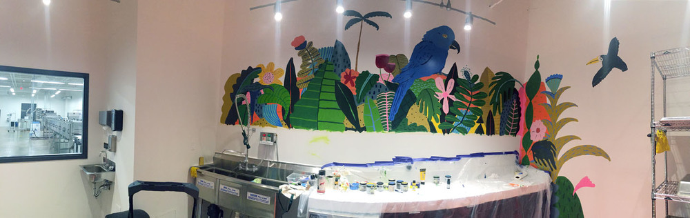 Tropical jungle mural painting at the  Harper Macaw Chocolate Factory  in DC.