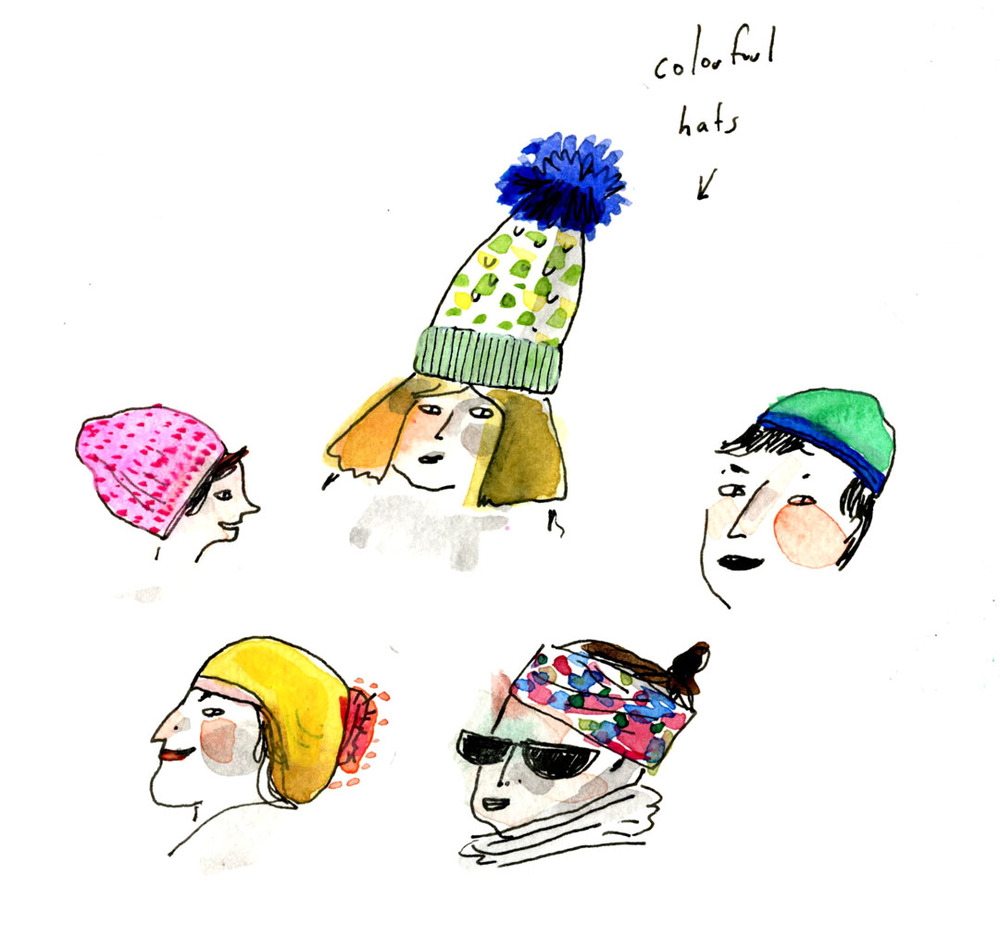 colorful snow hats