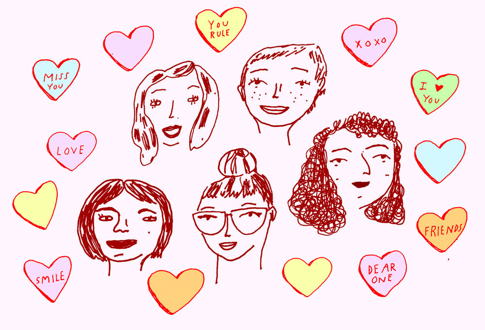 A postcard for Galentines Day sent out to  Dear Kate  subscribers.