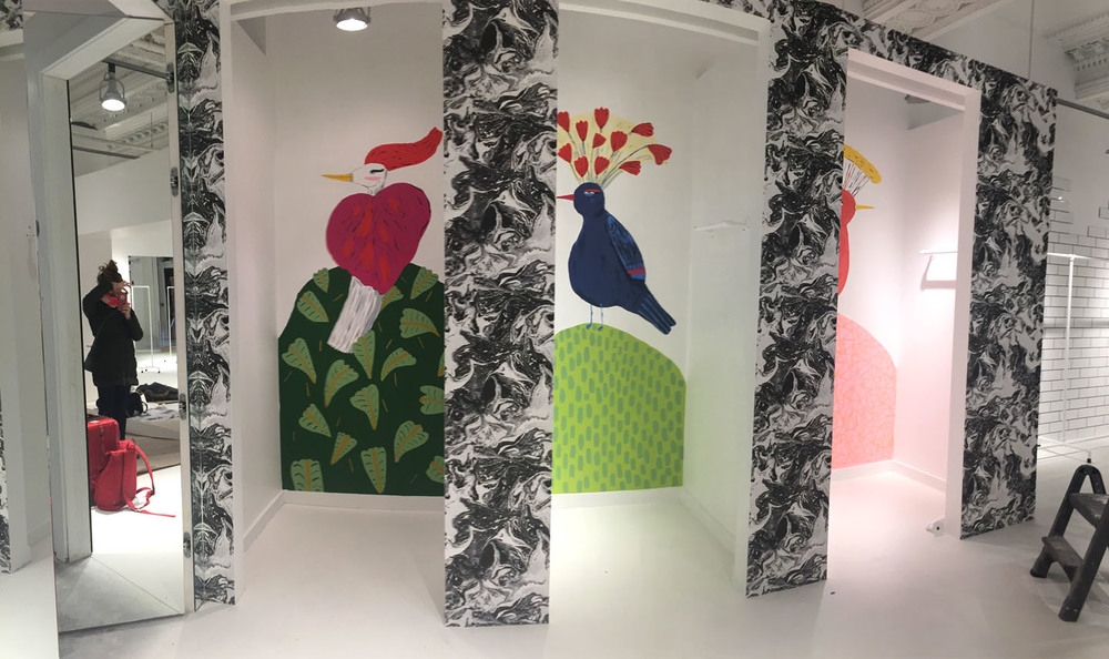 Birds painted on the dressing room walls of the Alice and Olivia store in Bryant Park NYC.