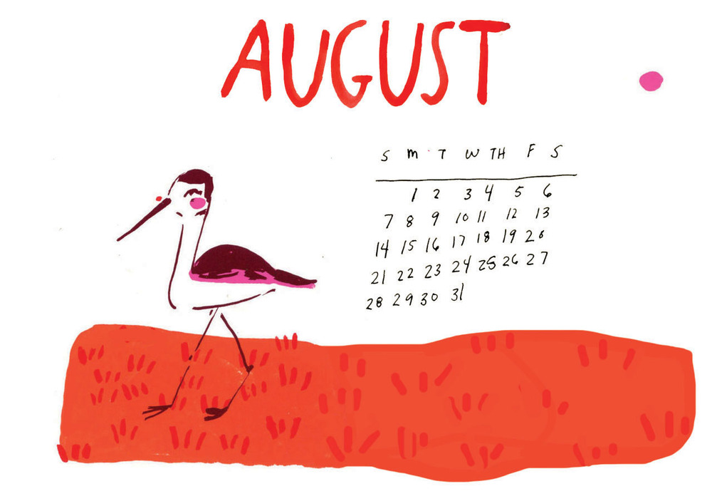 August Calendar Elizabeth Graeber