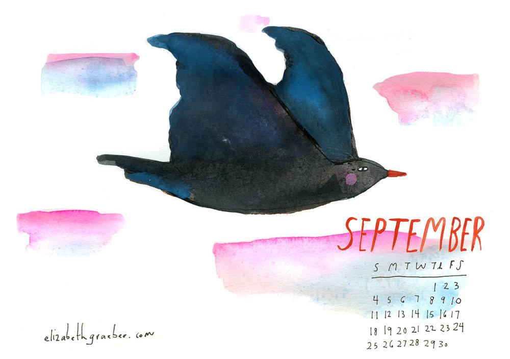 September Calendar 2016, Elizabeth Graeber