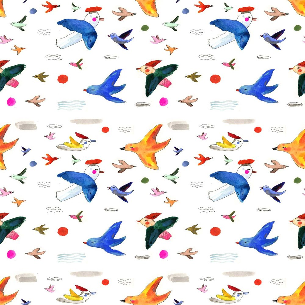 colorful watercolor birds pattern