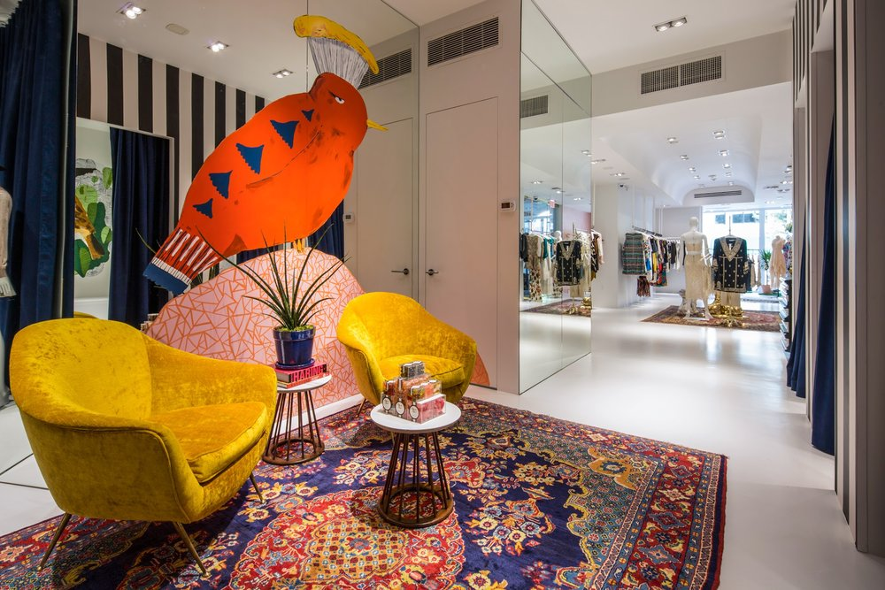 Alice and Olivia stores, hand painted murals in NYC, Texas, DC, Boston