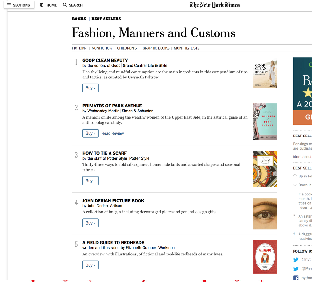NY Times Bestseller books- Fashion, Manners and Customs
