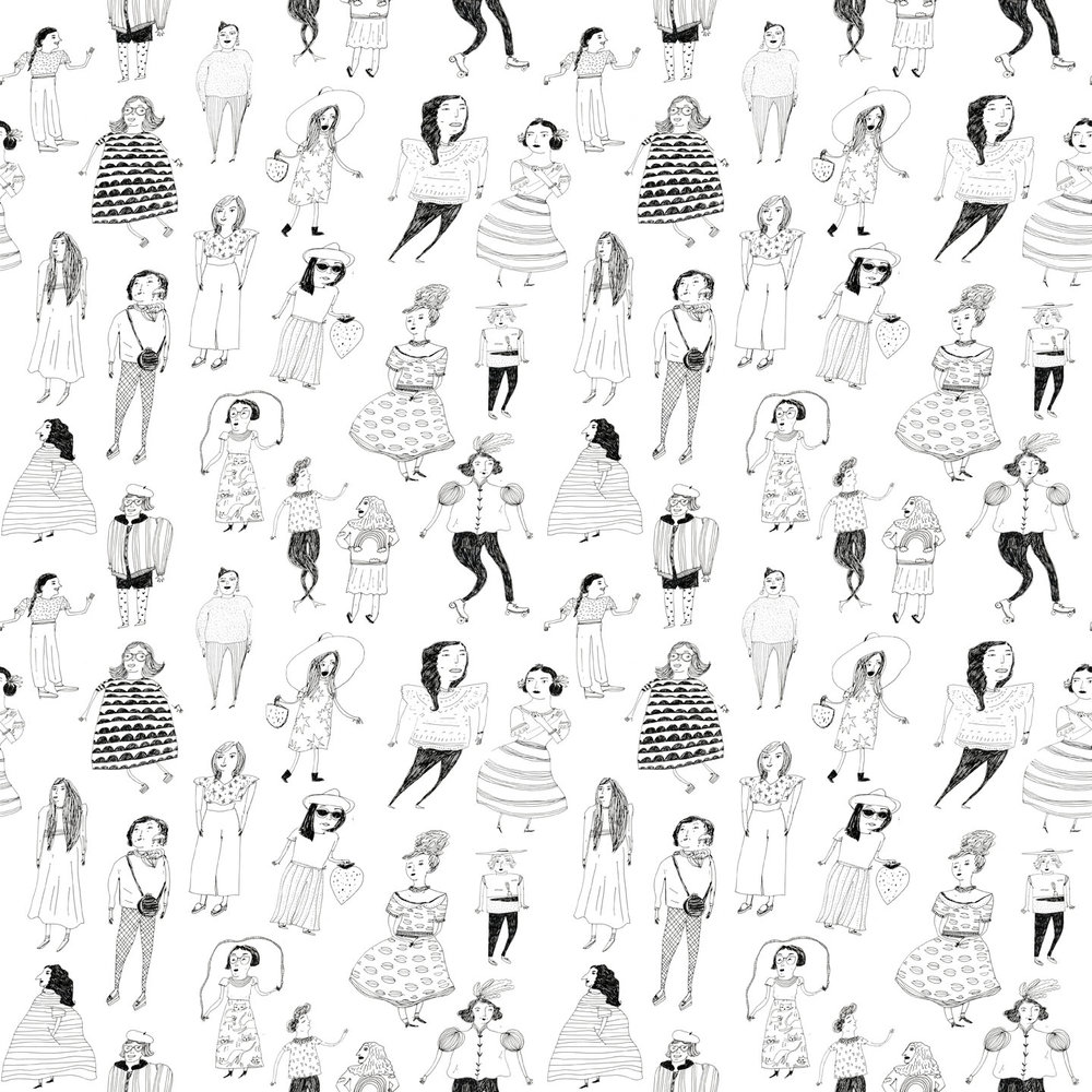 fancy ladies illustrated pattern