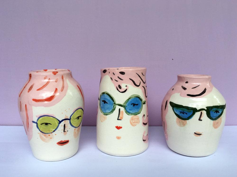 pink hair vases