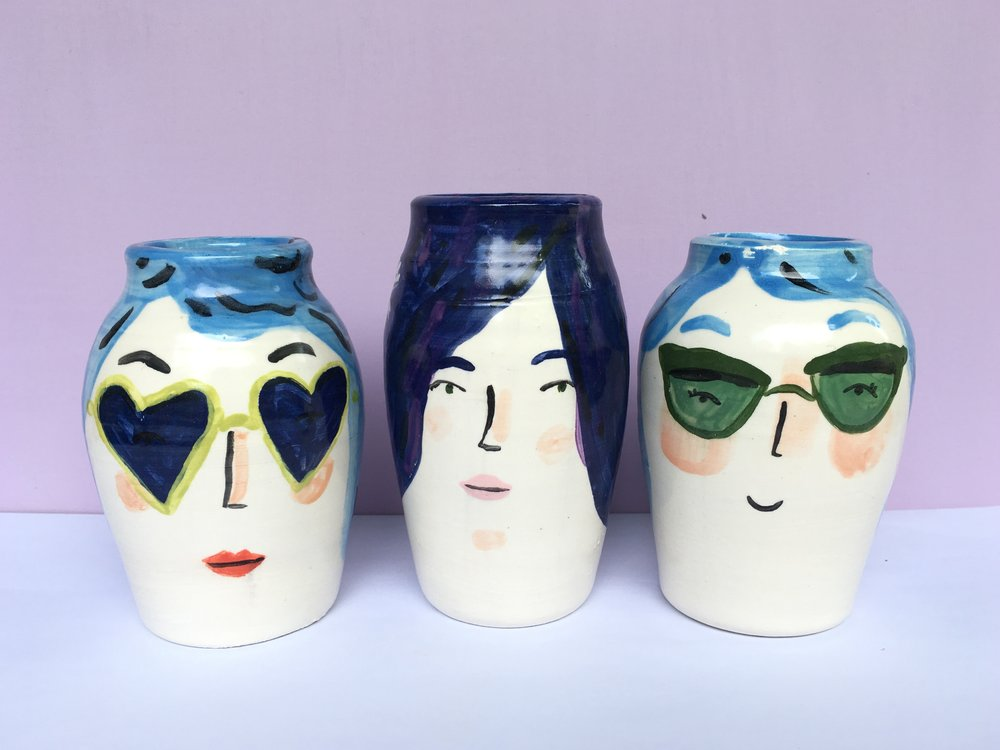 blue hair vases