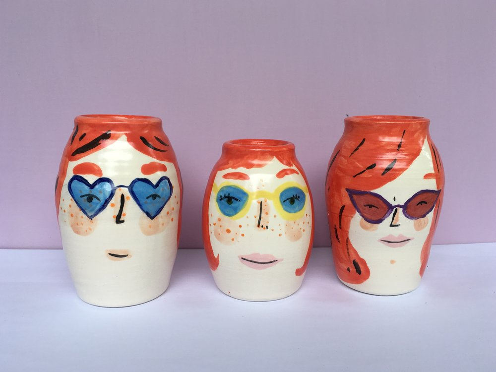 red hair vases