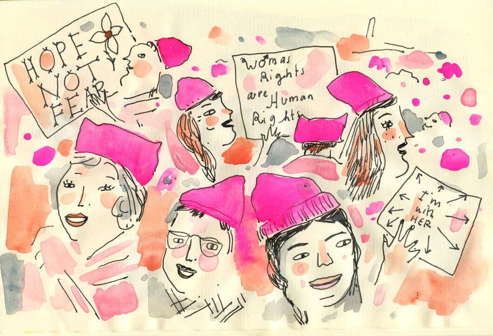 Womans march DC illustration
