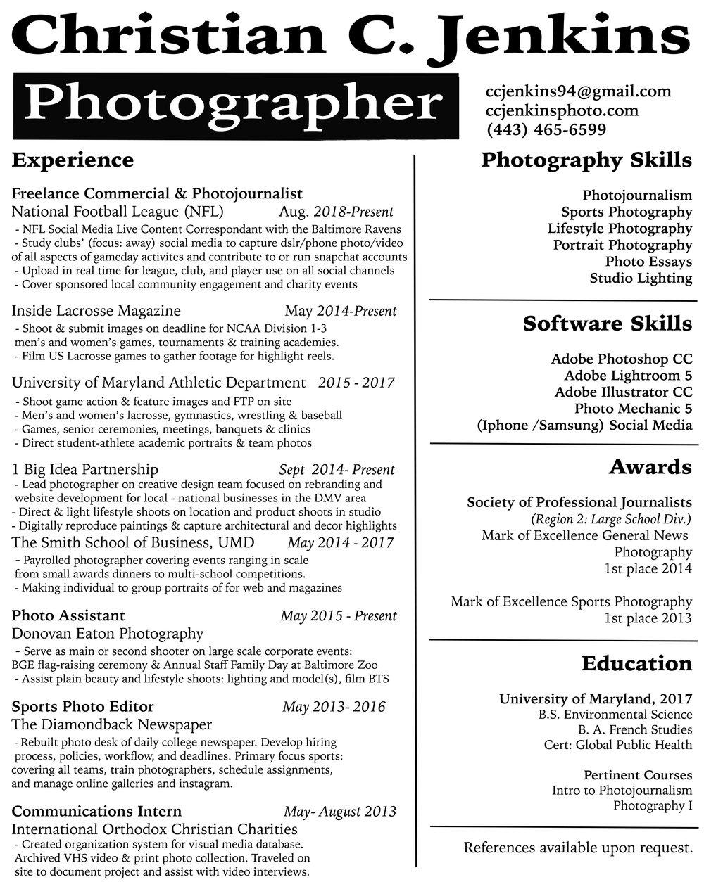 Resume Christian C Jenkins Photography