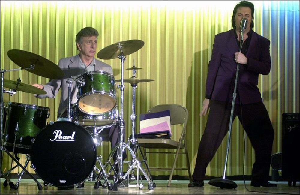 Elvis' original drummer DJ Fontana and Brent performing at an Elvis Festival in Toledo, OH