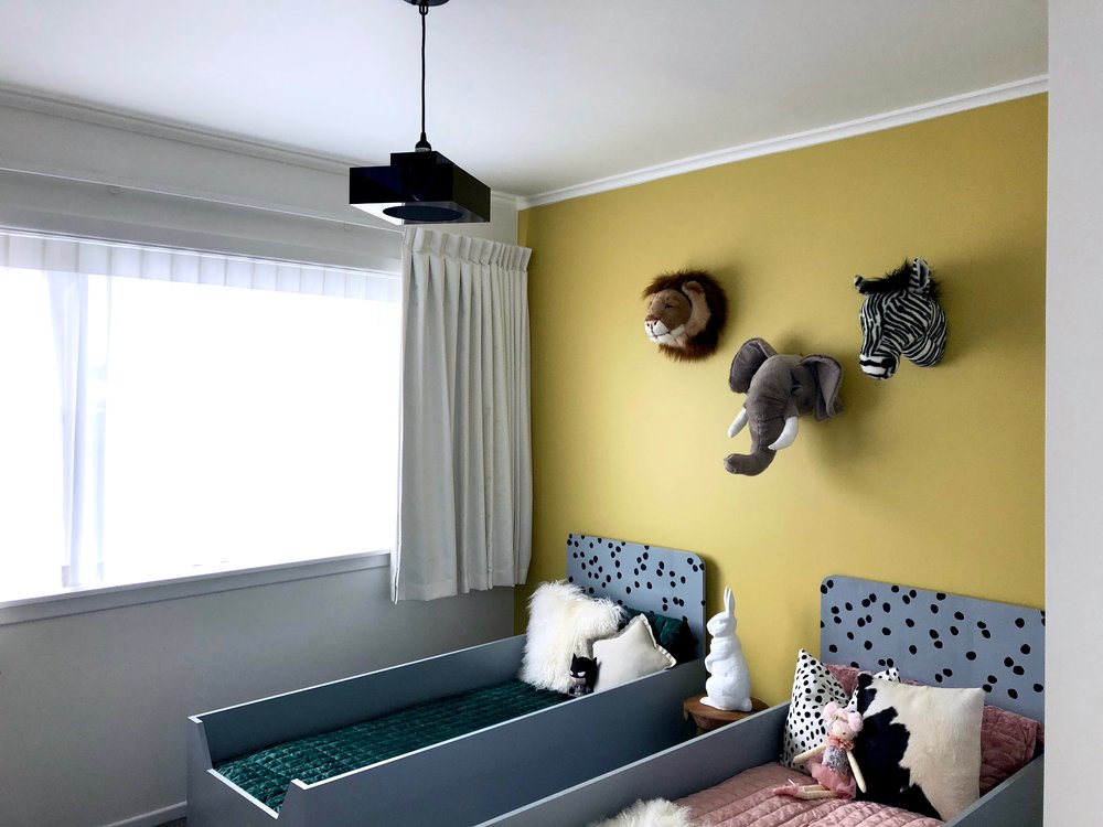Pearson + Projects Relocatable Reno Kids Shared Room Light Toddler Bed Animal Head Velvet Mustard White Curtains.jpg