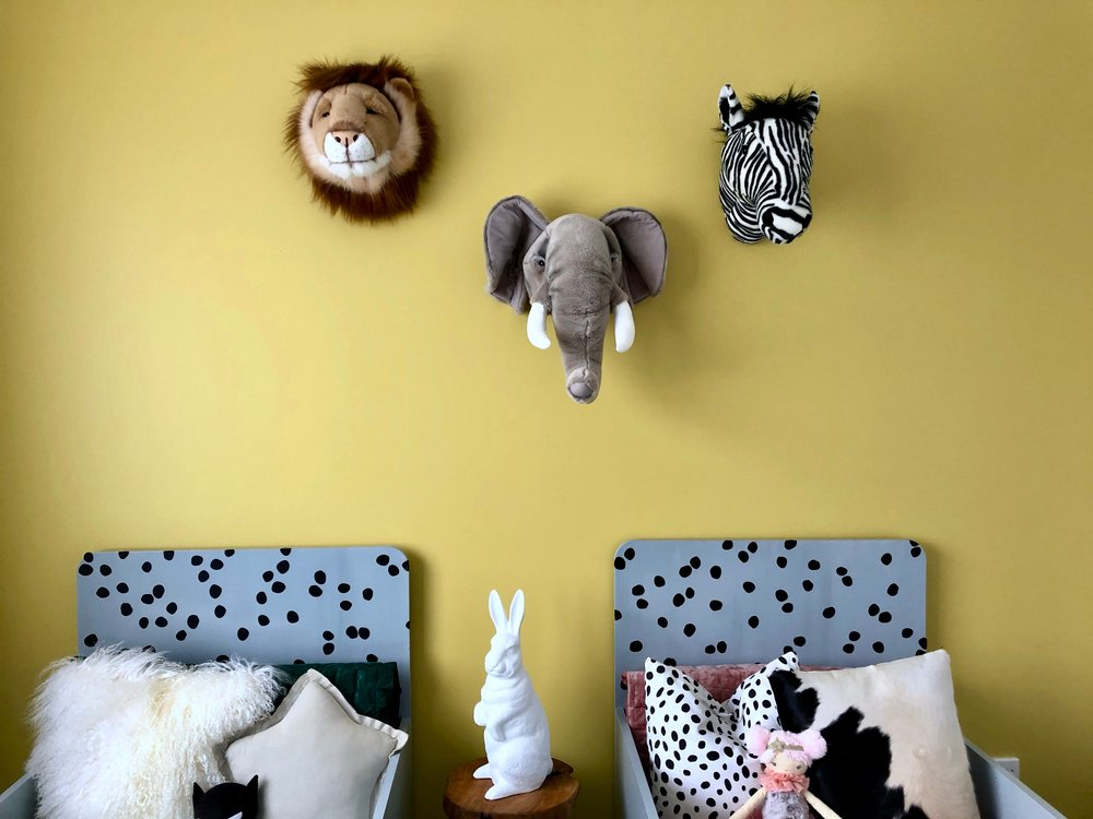 Pearson + Projects Relocatable Reno Kids Room Shared Room Rabbit Lamp Animal Head Dulux Mustard Feature Wall.jpg