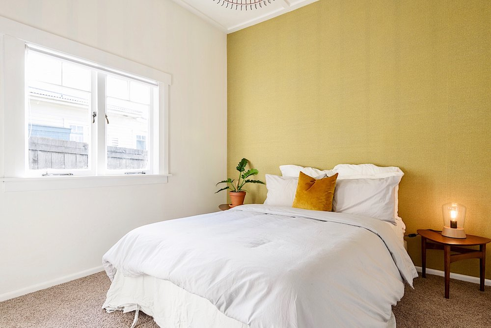 Pearson + Projects The Expert Reveal Master Bedroom Wallpaper Mustard .jpg