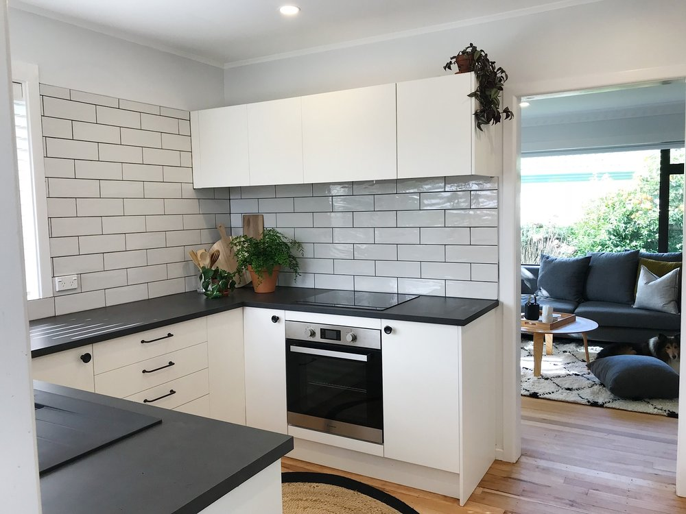 Pearson + Project The Rookies Kitchen Reveal Subway Tile White Black Benchtop .jpg