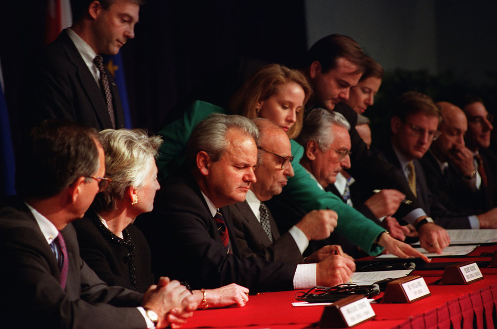 Signing of the Dayton Agreement, Picture by U.S. Air Force/Staff Sgt. Brian Schlumbohm